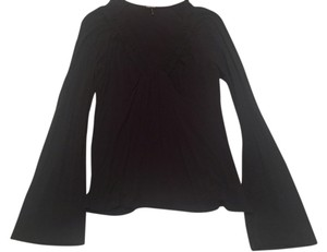 Daisy Fuentes Neck Shirt Medium Top Black