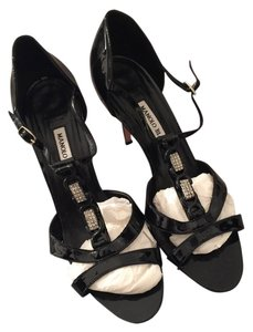 Manolo Blahnik Blanik Strap Heeled Black and silver Sandals