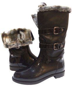Stuart Weitzman Faux Fur Lining Leather Upper Rubber Sole Strap And Buckle Black Boots