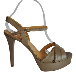 Barneys Co-Op Black Leather Platform 4.5 Beige Sandals