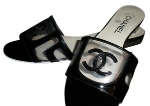 Chanel Clear Pvc Sandals black and wite Flats