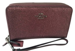 Coach NEW COACH double Leather I Phone Wallet Wristlet coins Glitter