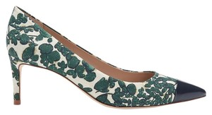 "Tory Burch Issy Linen Print 2.75"" Heel Size 9 Black Work Professional Date Night Night Out Botanical Floral Ivory, Green and Navy Pumps"