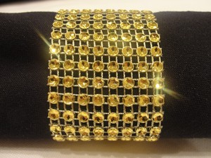 200 Gold Tone Bling Rhinestone Style Bow Covers / Napkin Rings / Sash Holder Decoration Party