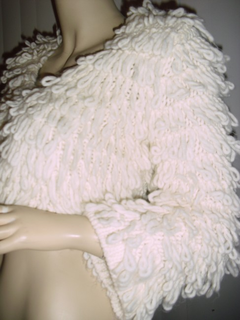 INC Intl Concepts White Alpaca White Crochet Loop off-white Jacket