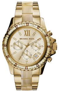 Michael Kors 100% New Authentic Michael Kors Women's Chronograph Everest Horn Acetate and Gold-Tone Stainless Steel Bracelet Watch 42mm MK5874