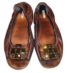 Miu Miu Jeweled Size 38 Brown Flats