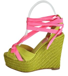 Christian Louboutin Canvas Isabelle 130 Espadrille Sandals Size 36 In Box Green Wedges
