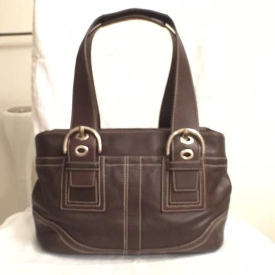 Coach Purse Handbag Tote Shoulder Designer Satchel in Brown Silver