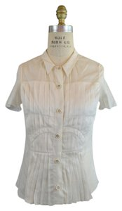 Prada Pleated Short Sleeve Button Down Shirt Ivory