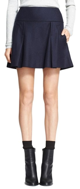 Vince New Wool Pleated Skirt Dark Blue