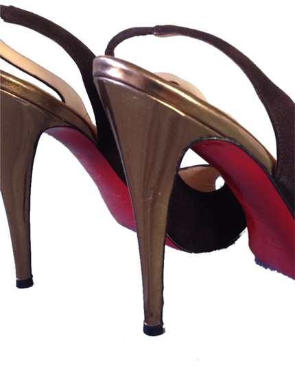 Christian Louboutin Suede Brown and Gold Pumps