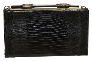 Crocodile Leather Black Clutch