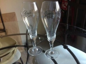 Glass Bride & Groom Champagne Toasting Flutes Other