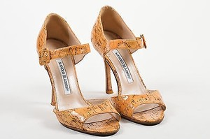 Manolo Blahnik Tan Glossy Brown Sandals
