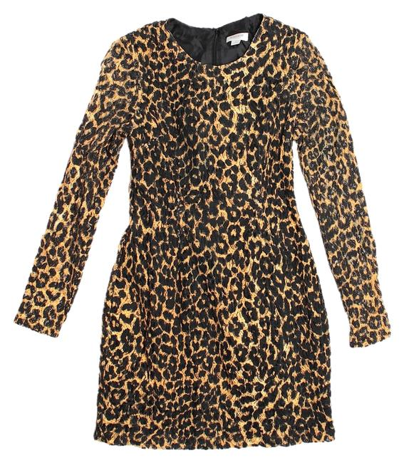 Item - Leopard Black Print Bow Bodycon Above Knee Night Out Dress Size 4 (S)
