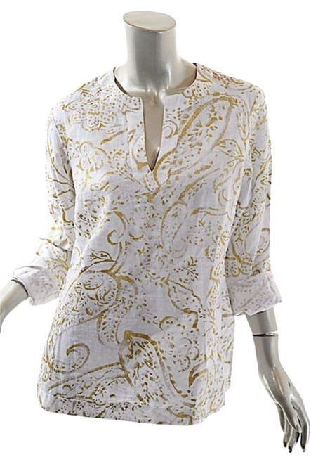 Preload https://img-static.tradesy.com/item/12917167/ralph-lauren-white-with-gold-petit-whitegold-linen-paisleyfauna-print-pm-tunic-size-6-s-0-1-650-650.jpg