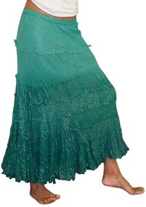 T-Bags Los Angeles Peasant Maxi Skirt Green