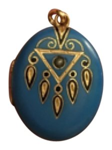 14kt Gold And Blue enamal locket With Seed Pearl locket