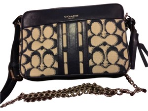 Coach Navy/beige Clutch