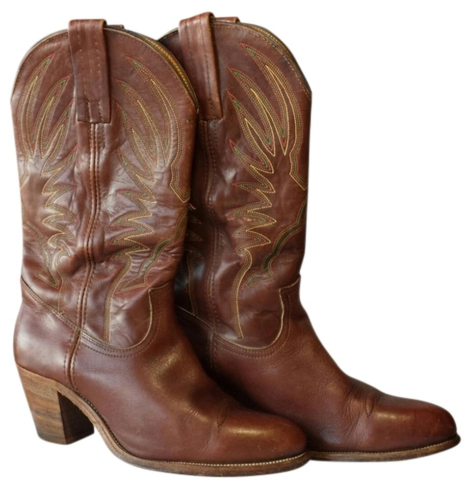 31a1ed90f92 Frye Reduced 2x Vintage Reddish Brown Stitch 70's Cowgirl Boots ...