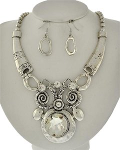 Burnished Silver Tone Clear Glass Necklace & Earring Set