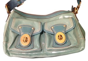 Coach Leather Goldtone Hardware Satchel in Teal green