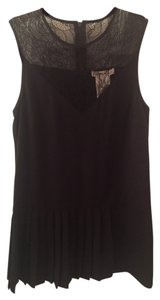 BCBGeneration Drop Waist Shift Pleated Sheer Lace Large Dress