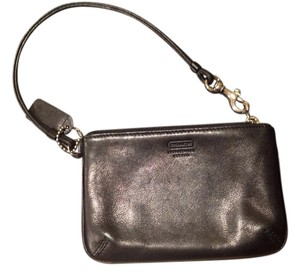 Coach Coach Black Leather Wristlet Cell Phone Holder Travel Purse