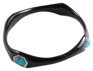 Ippolita IPPOLITA Black Resin Sterling Silver Bronze Turquoise Bangle Bracelet Large Sz 3