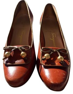 Salvatore Ferragamo Boutique Leather Loafers Bow Brown Mules