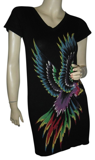 Preload https://item2.tradesy.com/images/ed-hardy-black-printed-bohemian-style-hippie-gypsy-style-music-festival-flower-child-short-workoffic-12920626-0-1.jpg?width=400&height=650