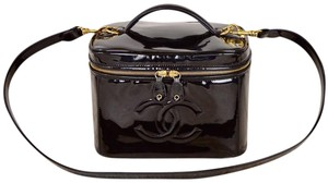 Chanel Patent Leather Vanity Train Case Shoulder Bag