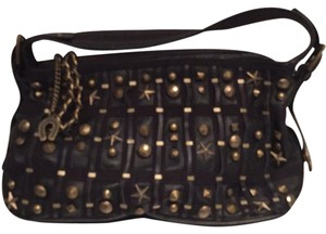 Betsey Johnson Embellished Satchel in Black With Gold Studs And Stars