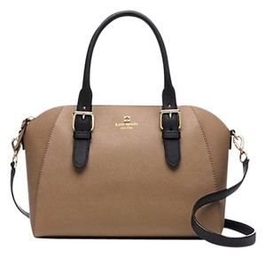 Kate Spade Leather Gold Hardware Satchel in Dune/Black