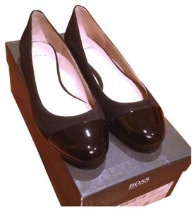 Hugo Boss Patent Patent Leather Suede Sexy Chic Office Wear Glam Luxury Sale Black Flats