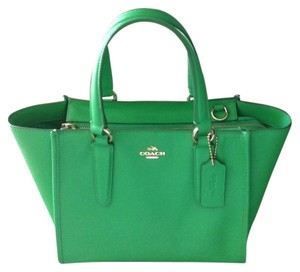 Coach Black Leather Satchel in Green
