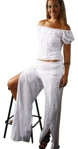 Lirome Embroidered Cottage Chic Wide Leg Pants White