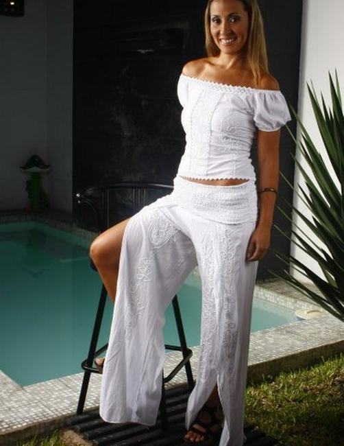 Lirome Embroidered Cottage Chic Ibicenco Wide Leg Pants White