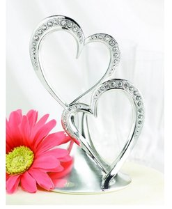 Wedding Silver Plated Cake Topper Double Heart Sparkling Cake Topper For Elegant Weddings Rhinestone Accent Wedding Cake