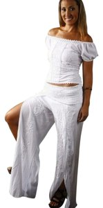 Lirome Chic Sexy Ibicenco Resort Wide Leg Pants White
