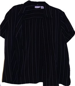 Apparenza Button Down Shirt Black pin stripped