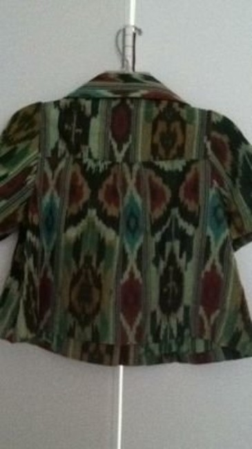 Anthropologie Green Ikat Print Jacket