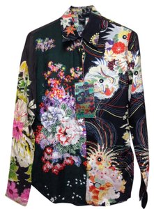 Desigual Button Down Shirt Floral-Blacks, Pinks, Greens, Yellows
