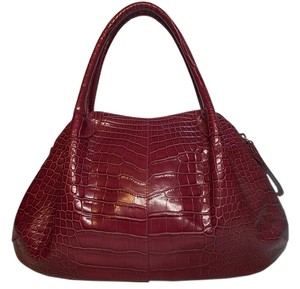 Donna Dixon Crocodile Embossed Structured Satchel in Magenta/Purple