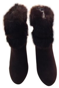 Coach Rabbit Fur Around The Top Of The Gold Turn Lock Key Hardware Chestnut/chocolate Boots