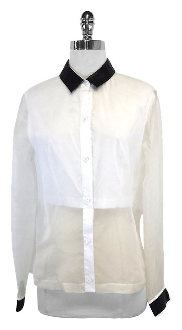 Robert Rodriguez White Silk Black Leather Top