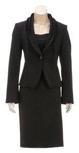 Armani Armani Collezioni Black Ruffle Lapel Blazer and Skirt Suit (Size 8)