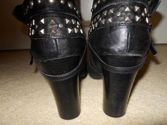 Kelly & Katie Leather Studded Strapy black Boots