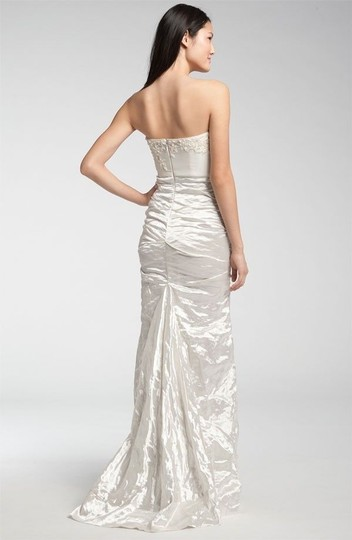 Nicole Miller Cool White Satin-blend Strapless Wedding Dress Size 4 (S)